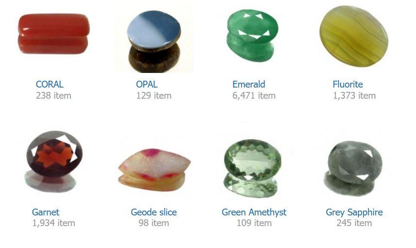 CORAL    OPAL    Emerald    Fluorite    Garnet    Geode slice    Green Amethyst    Grey Sapphire