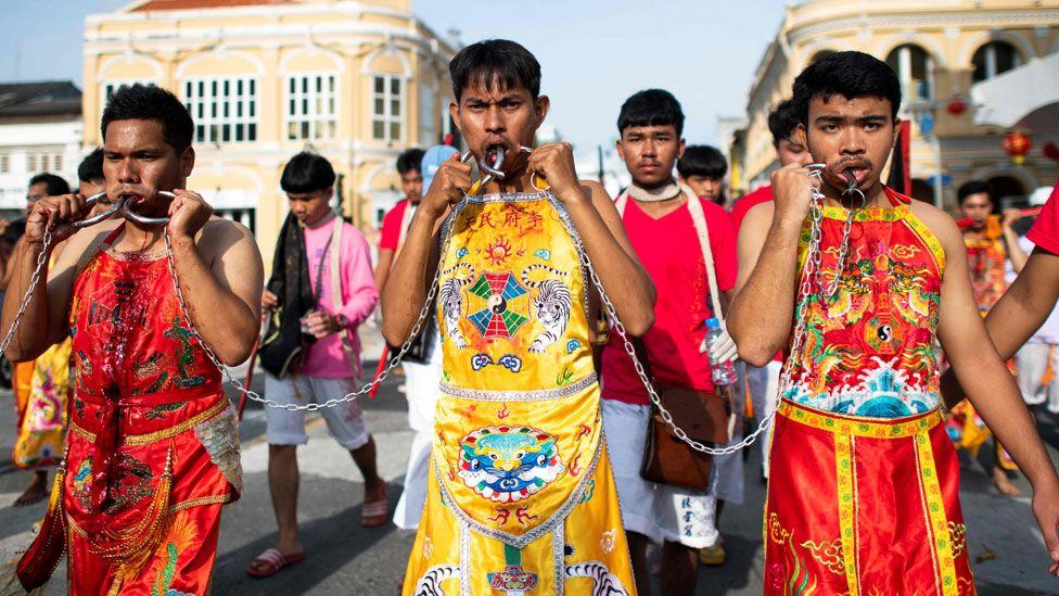 Unusual Piercing at Thai Vegetarian Festival