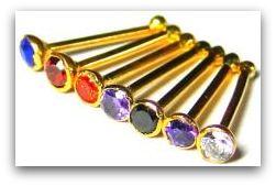 multicolor 22 carat gold nose studs